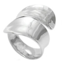 925 Sterling Silver Large Hammered & Polished Wrap Band Ring Size 5-10