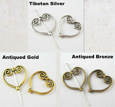 18Pcs Tibet Silver,Gold,Bronze Love Heart Nice Charm Spacer Bead Frame 19x20mm