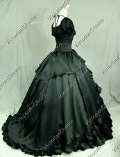 Victorian Dress Black Period Gown Women Halloween Costume Steampunk Witch 206