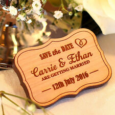 Personalised Wooden Vintage Save the Date Magnets Rustic Wedding Mirrored Magnet