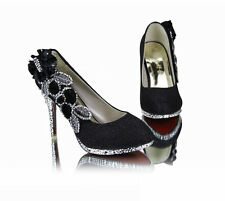 5 color Vogue lace Flowers Crystal High Heels Wedding Bridal Shoes