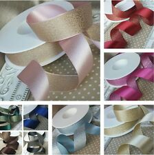 15 / 25mm Reversible satin, metallic glitter ribbon, wedding, bridal, invitation