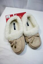 NWT $30 CHAPS Slippers Loafers Knit Plush Lining Tan Quilted Non Skid