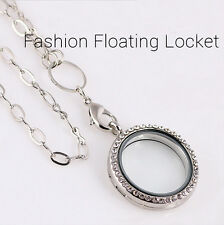 Hot Round Crystal Silver/Gold Floating Charm Memory Living Locket Necklace TUS