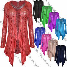 Womens Ladies Mesh Lace Crochet Butterfly Waterfall Drape Cardigan Plus Size Top