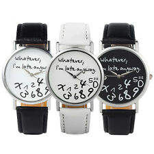New Women's Men's Wrist Watches Whatever I'm Late Anyway Fashion Funny Watches