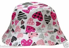 GIRL'S  HEART REVERSIBLE SUN/SUMMER BUCKET HAT 53CM (3-6 YRS) 55CM (7-12 YRS)