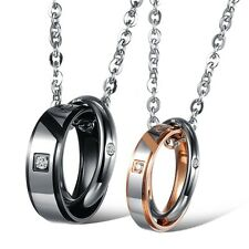 Hot Stainless Steel Crystal Double Rings Engraved Puzzle Pendant Couple Necklace