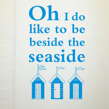 Beside the seaside wall art sticker with beach huts - H643K