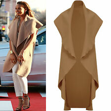 Ladies New Spring Camel sleeveless Waterfall drape coat cardigan alesha celeb