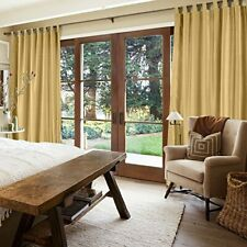 MODERN PLAIN FAUX SILK FULLY LINED CURTAINS in GOLD TAB TOP