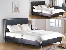 Faux Leather BLACK Single | Double | King Bed Low Frame