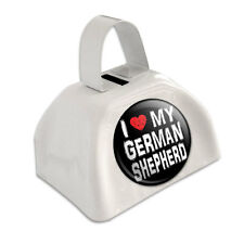 White Cowbell Cow Bell - I Love My Dog E-K