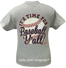 "Girlie Girl Originals ""Baseball Time Y'all"" Grey Short Sleeve Unisex Fit T-Shirt"