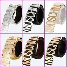 New fashion Wild Moschino Belt With Gold Letters 80sVGCDustBag&Box