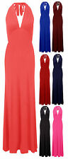 Womens Tie Halter Neck Maxi Dress Ladies Plain Jersey Long Party Dress Size 8-14