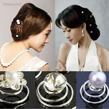 New 6/12x Bridal Wedding Prom Crystal Pearl Flower Hair Pins Swirl Spiral Twist