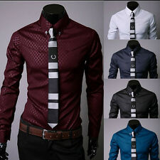 New Fashion Mens Luxury Long Sleeve Casual Slim Fit Stylish Casual Dress Shirts