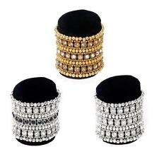 3-ROW Crystal Rhinestone Wedding Bridal Wide Elastic Bracelet Bangle Wristband