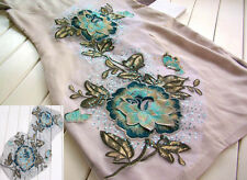 Embroidered 3D Blue Flower Sewing Trim Costume Venice Appliques Craft 30cmX50cm