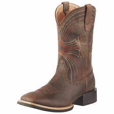 Men's Ariat 10010963 Sport Wide Square Toe Brown Leather Western Cowboy Boot's