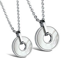 His and Hers Couple Necklace Stainless Steel Shell Coin Type Pendant and Chain