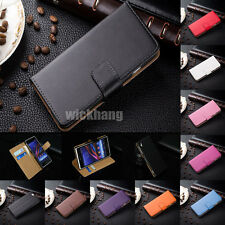 Genuine Real Leather Wallet Card Stand Flip Case Cover for Sony Xperia Series