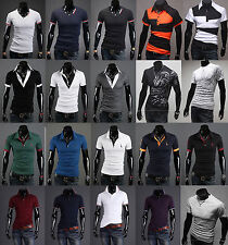 Mens Casual Polo T Shirt Stylish Slim Fit Shirts Crew Neck Tattoo Dragon Tee Top