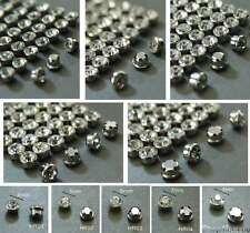 Sew On Clear Crystal Diamante Rhinestones Mounting in Brass Rim Set with holes
