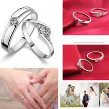 HOT Ture LOVE Crystal Silver Couple Rings Wedding Band His and Her Promise Rings