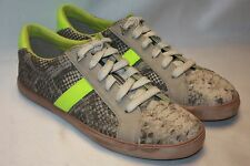 NEW! SAM EDELMAN Natural Snakeskin Leather HANSON Lime Green Sneakers 6.5 8.5