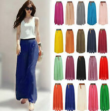 New Women Retro Double Layer Chiffon Pleated Long Maxi Dress Elastic Waist Skirt
