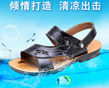 New Mens Classic Genuine Leather Sandals Straps Casual Flats Slipper Beach Shoes