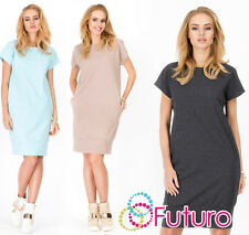 Ladies Shift Dress With Pockets Short Sleeve Long Top Tunic Sizes 8-14 FA384