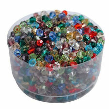 100Pcs Charm Czech Colorful Rondelle Bicone Crystal Glass Spacer Loose Bead 4mm