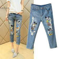 Fashion Women seventh jeans cartoon images casual denim pants trousersB15-JB8908