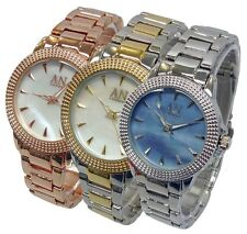 AN London Mother of Pearl Small Dial & Metal Strap Ladies Fashion Watch-AN900