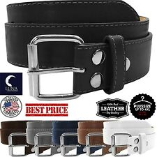 NEW Womens Thick Wide Leather Removable Silver Premium Buckle Color Fashion Belt