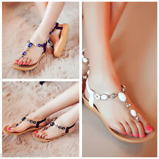 Women Bead Rhinestone Thong Flat Shoes Sandal Flip Flop Bohemian Pick Size/Color