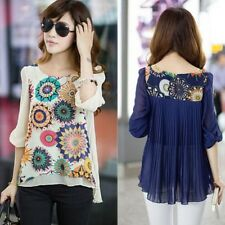 Womens Casual Loose Summer Chiffon Tops 3/4 Sleeve T Shirt Blouse Plus Size S80