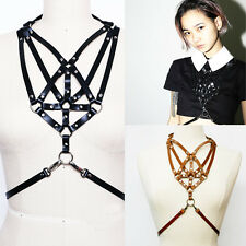 Classic Holly Leather Harness Handmade Chest Body Bondage Cage Belt Sculpting