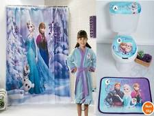 NEW GIRLS DISNEY FROZEN BATH SET Tank Cover Toilet Seat Cover Toilet Mat Robe
