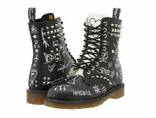 NIB Dr. Martens Maychild Black White Smooth Graffiti Spiked Boots UK 13 US 14