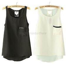 Retro Ladies Sleeveless Shirt Chiffon Pocket Vest Tank Casual Blouse Tops M87