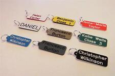 Set of 4 personalized keyrings, shatterproof plastic, FREE P&P key fob tags