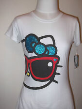 HELLO KITTY    Women's  Junior T-shirt Tee Sanrio   M L  White Glasses