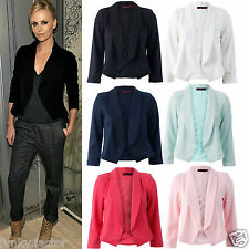 Womens Ladies Celeb Inspired Tailored Fitted Ponte Cropped Blazer Ladies Jacket