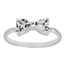 925 Sterling Silver Child's 0.50 Carat Heart CZ Ribbon Ring Size 3-6