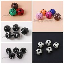 Nice Styles Cross Carved Round Acrylic Spacer Beads Findings Fit Make Jewelry J