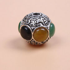 Hot Sale Antique Silver Alloy Mixed Color Resin Rhinestone Round Spacer Beads J